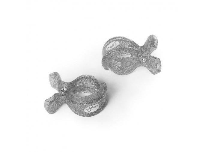 xkko klipy na kocarek 2ks metallic silver 388